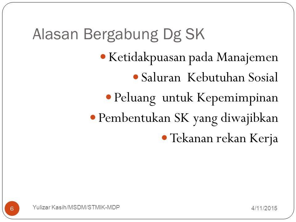 STRUKTUR SERIKAT PEKERJA SERIKAT PEKERJA LOKAL SERIKAT PEKERJA PROFESI SERIKAT PEKERJA INDUSTRIAL SERIKAT PEKERJA NASIONAL 4/11/2015 Yulizar Kasih/MSDM/STMIK-MDP 7