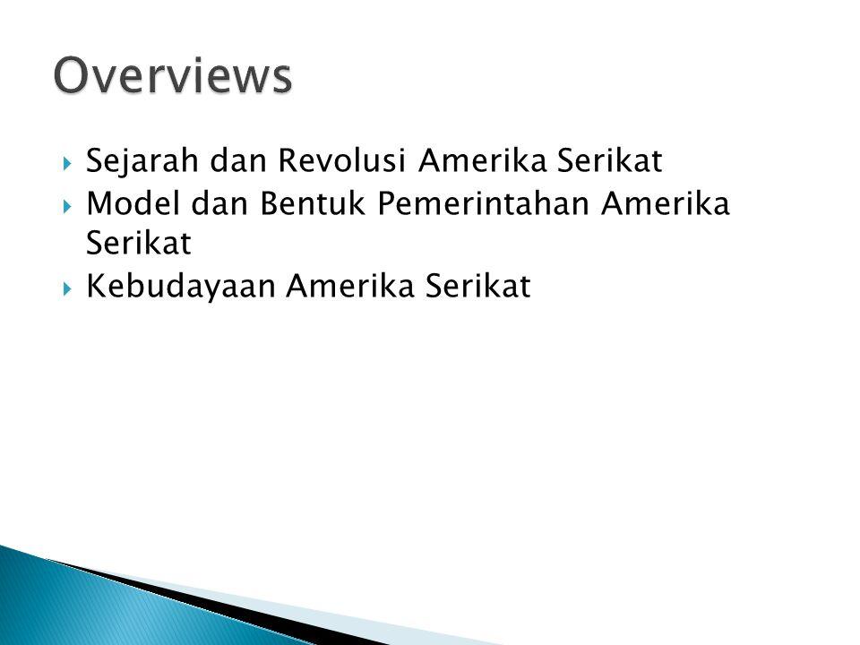  Sejarah dan Revolusi Amerika Serikat  Model dan Bentuk Pemerintahan Amerika Serikat  Kebudayaan Amerika Serikat