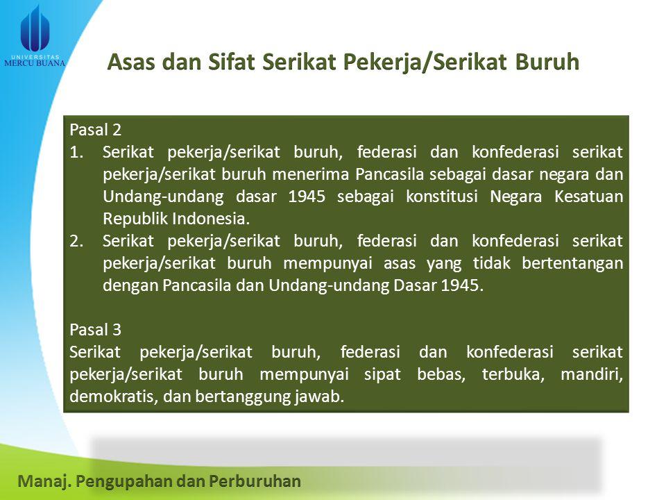 Pasal 2 1.Serikat pekerja/serikat buruh, federasi dan konfederasi serikat pekerja/serikat buruh menerima Pancasila sebagai dasar negara dan Undang-undang dasar 1945 sebagai konstitusi Negara Kesatuan Republik Indonesia.
