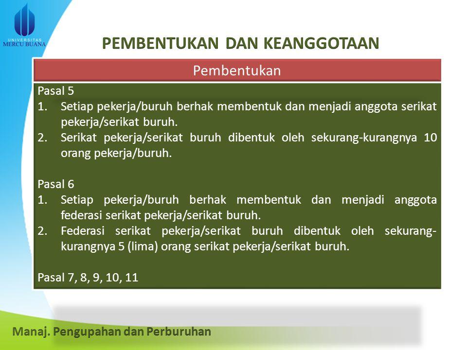 Pasal 5 1.Setiap pekerja/buruh berhak membentuk dan menjadi anggota serikat pekerja/serikat buruh.