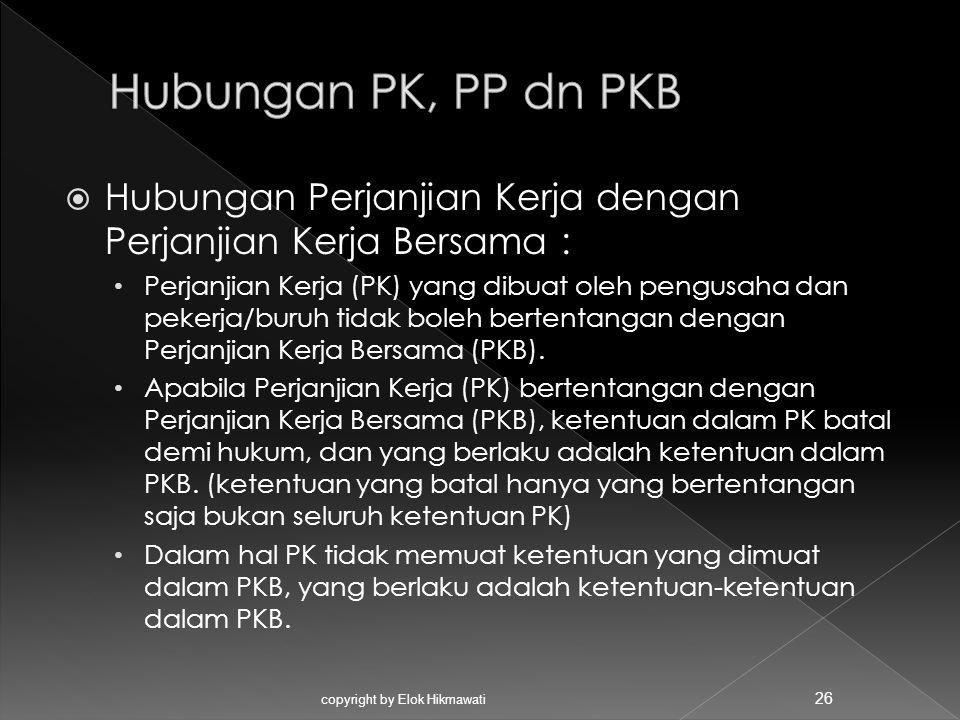  Hubungan Perjanjian Kerja dengan Perjanjian Kerja Bersama : Perjanjian Kerja (PK) yang dibuat oleh pengusaha dan pekerja/buruh tidak boleh bertentan