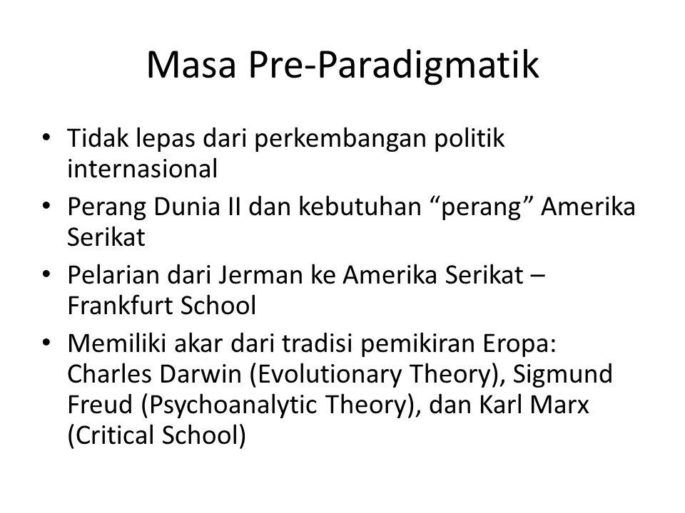 Masa Pre-Paradigmatik Tidak lepas dari perkembangan politik internasional Perang Dunia II dan kebutuhan perang Amerika Serikat Pelarian dari Jerman ke Amerika Serikat – Frankfurt School Memiliki akar dari tradisi pemikiran Eropa: Charles Darwin (Evolutionary Theory), Sigmund Freud (Psychoanalytic Theory), dan Karl Marx (Critical School)