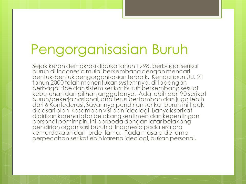 Pengorganisasian Buruh Sejak keran demokrasi dibuka tahun 1998, berbagai serikat buruh di Indonesia mulai berkembang dengan mencari bentuk-bentuk pengorganisasian terbaik.