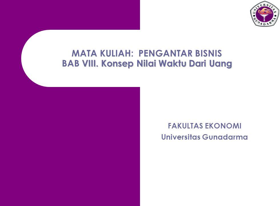VIII. Konsep Nilai Waktu Dari Uang MATA KULIAH: PENGANTAR BISNIS BAB VIII. Konsep Nilai Waktu Dari Uang FAKULTAS EKONOMI Universitas Gunadarma