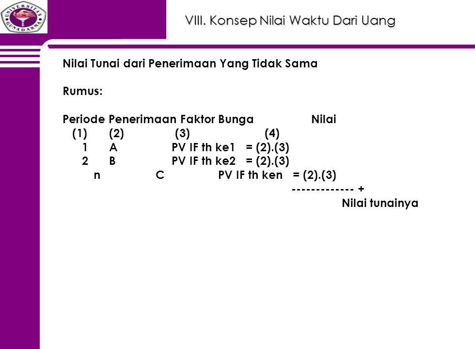 VIII. Konsep Nilai Waktu Dari Uang Nilai Tunai dari Penerimaan Yang Tidak Sama Rumus: Periode Penerimaan Faktor Bunga Nilai (1)(2) (3) (4) 1A PV IF th