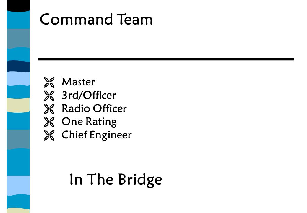 Command Team  Master  3rd/Officer  Radio Officer  One Rating  Chief Engineer In The Bridge