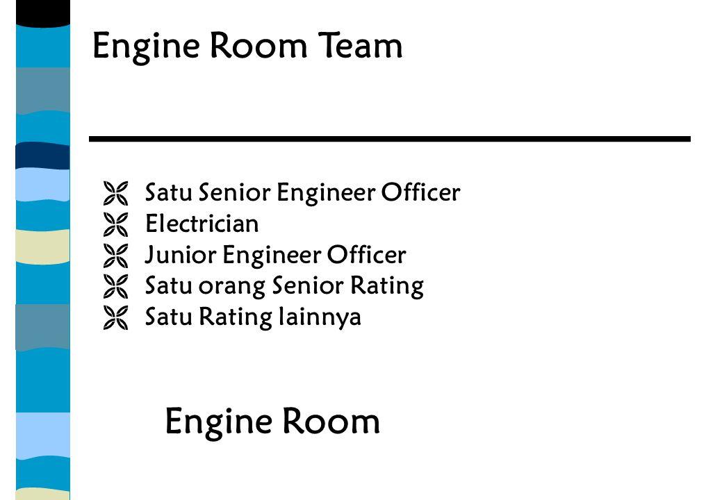 Engine Room Team  Satu Senior Engineer Officer  Electrician  Junior Engineer Officer  Satu orang Senior Rating  Satu Rating lainnya Engine Room