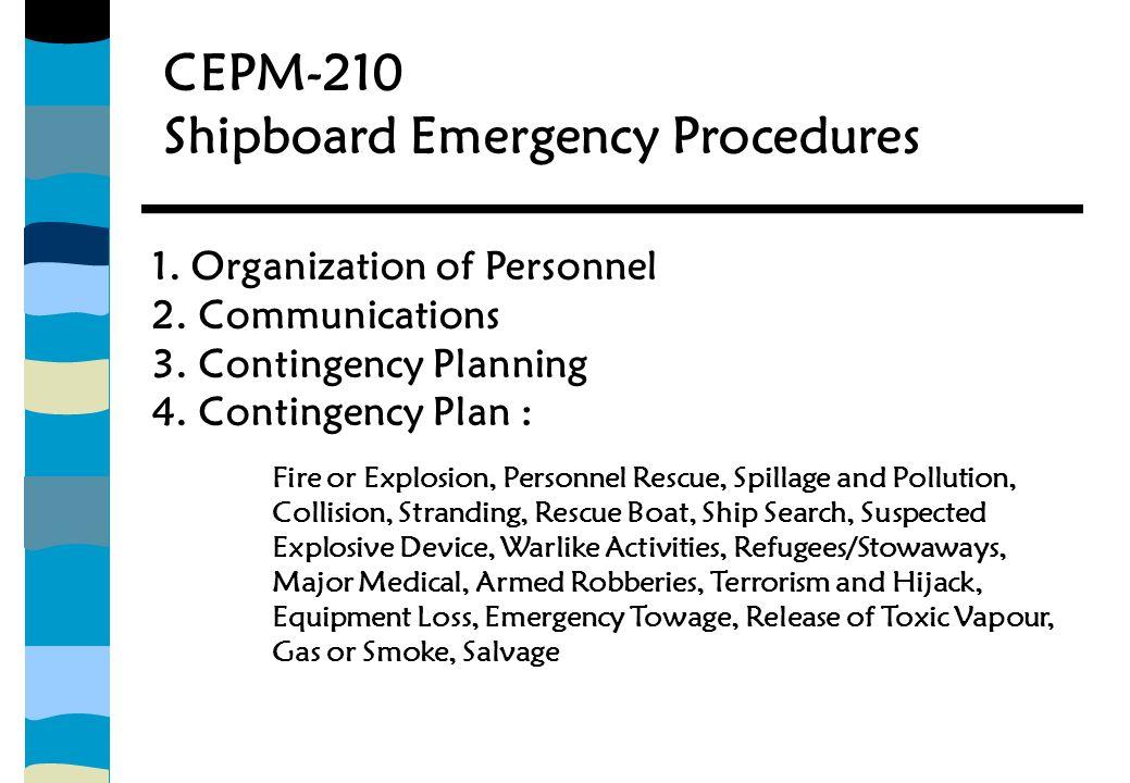 CEPM-210 Shipboard Emergency Procedures 1.Organization of Personnel 2.