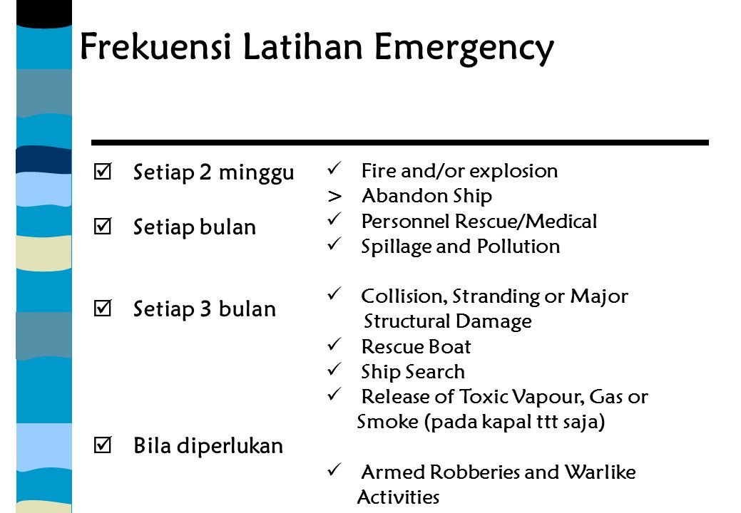 Frekuensi Latihan Emergency  Setiap 2 minggu  Setiap bulan  Setiap 3 bulan  Bila diperlukan Fire and/or explosion > Abandon Ship Personnel Rescue/