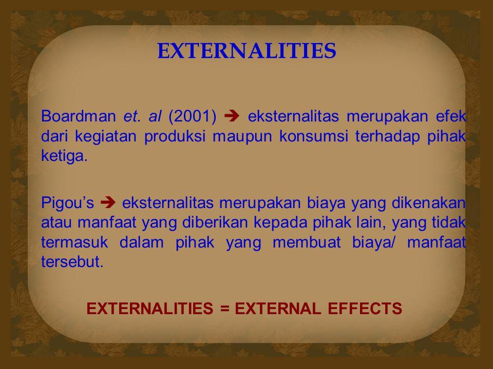 EXTERNALITIES Boardman et. al (2001)  eksternalitas merupakan efek dari kegiatan produksi maupun konsumsi terhadap pihak ketiga. Pigou's  eksternali