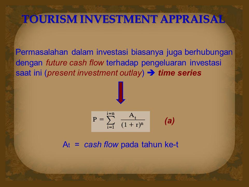 TOURISM INVESTMENT APPRAISAL Permasalahan dalam investasi biasanya juga berhubungan dengan future cash flow terhadap pengeluaran investasi saat ini (p