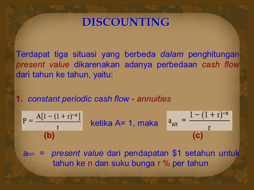 DISCOUNTING Terdapat tiga situasi yang berbeda dalam penghitungan present value dikarenakan adanya perbedaan cash flow dari tahun ke tahun, yaitu: 1.