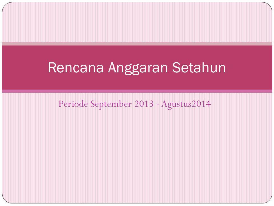 Periode September 2013 - Agustus2014 Rencana Anggaran Setahun