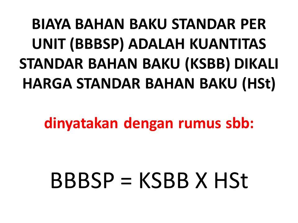 BIAYA BAHAN BAKU STANDAR PER UNIT (BBBSP) ADALAH KUANTITAS STANDAR BAHAN BAKU (KSBB) DIKALI HARGA STANDAR BAHAN BAKU (HSt) dinyatakan dengan rumus sbb: BBBSP = KSBB X HSt