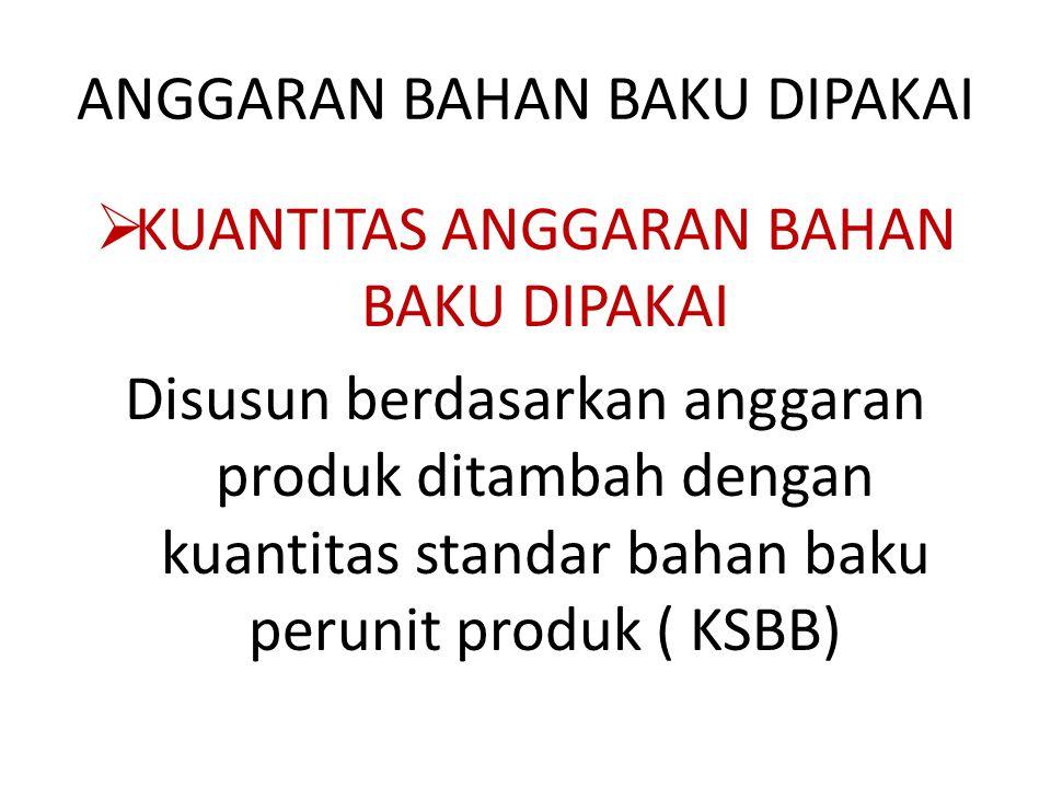 ANGGARAN BAHAN BAKU DIPAKAI  KUANTITAS ANGGARAN BAHAN BAKU DIPAKAI Disusun berdasarkan anggaran produk ditambah dengan kuantitas standar bahan baku perunit produk ( KSBB)