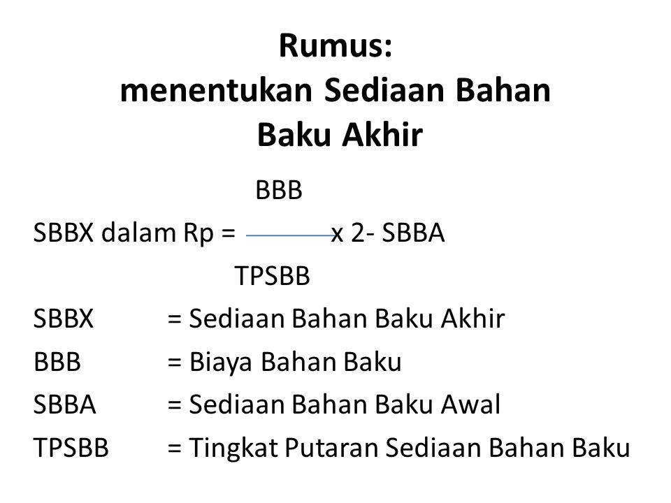 Rumus: menentukan Sediaan Bahan Baku Akhir BBB SBBX dalam Rp = x 2- SBBA TPSBB SBBX= Sediaan Bahan Baku Akhir BBB= Biaya Bahan Baku SBBA= Sediaan Baha