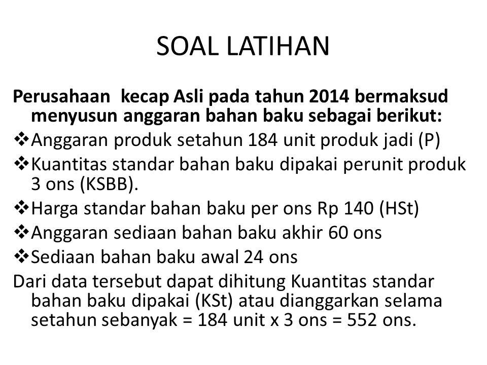 SOAL LATIHAN Perusahaan kecap Asli pada tahun 2014 bermaksud menyusun anggaran bahan baku sebagai berikut:  Anggaran produk setahun 184 unit produk j