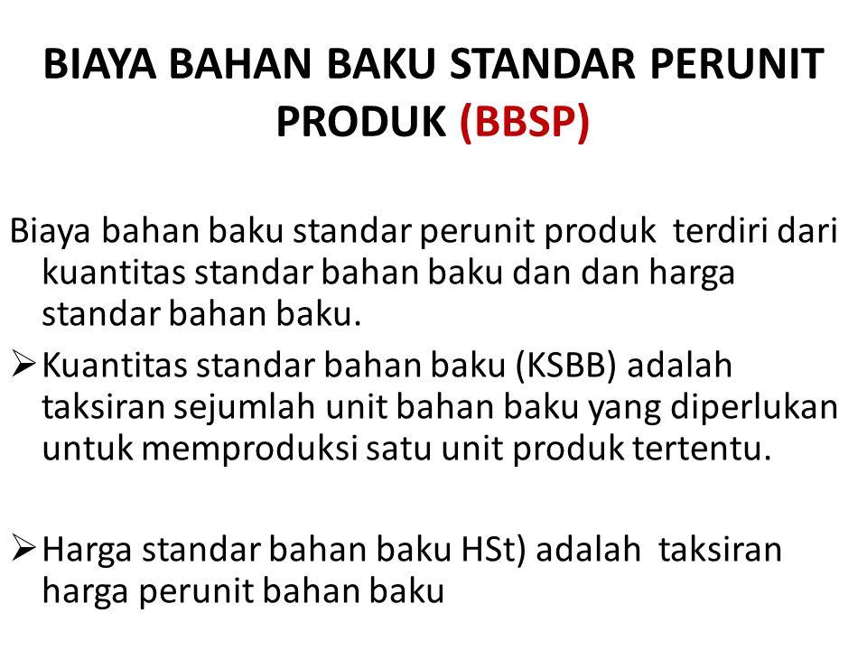 BIAYA BAHAN BAKU STANDAR PERUNIT PRODUK (BBSP) Biaya bahan baku standar perunit produk terdiri dari kuantitas standar bahan baku dan dan harga standar bahan baku.