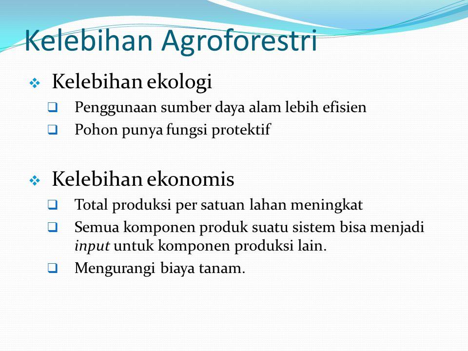 Kelebihan Agroforestri Lanjutan  Kelebihan sosial dan ekonomi  Hasil diperoleh setiap waktu dalam setahun, menciptakan kesempatan kerja sepanjang waktu  Hasil pohon bisa diperoleh pada waktu peranian off-season .