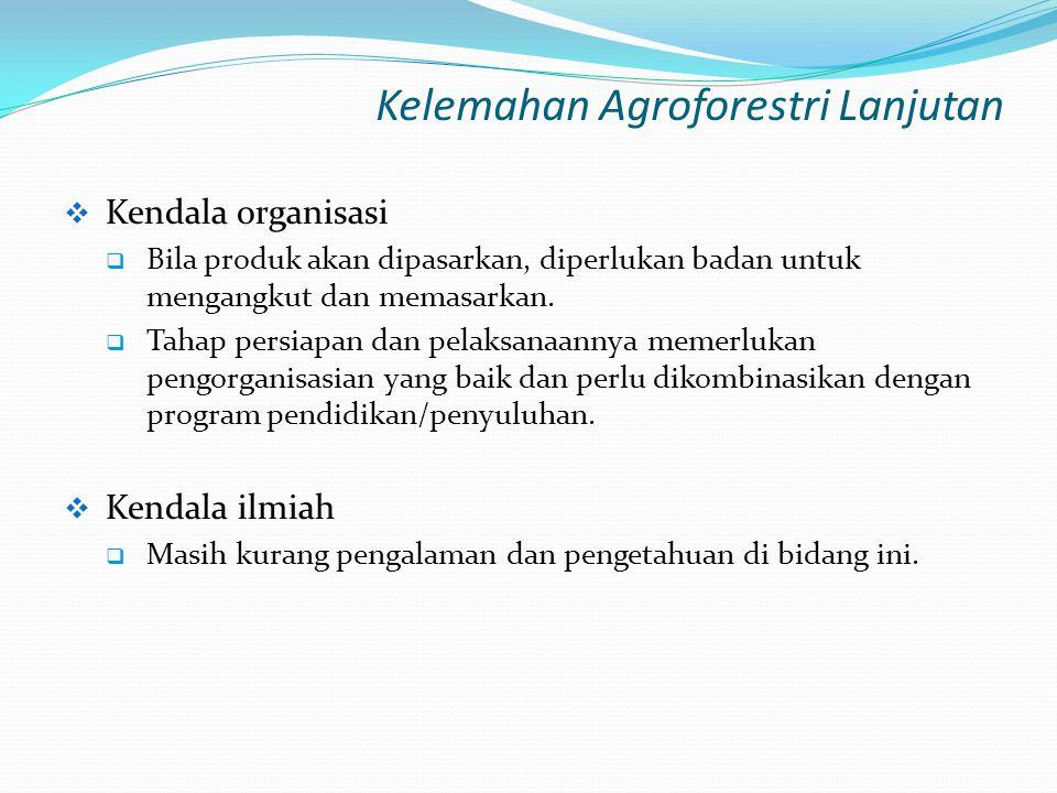 Kelemahan Agroforestri Lanjutan  Kendala organisasi  Bila produk akan dipasarkan, diperlukan badan untuk mengangkut dan memasarkan.  Tahap persiapa