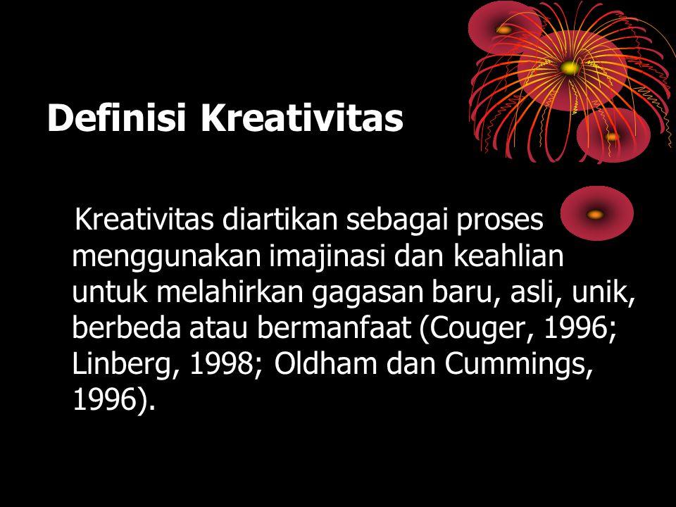Definisi Kreativitas Kreativitas diartikan sebagai proses menggunakan imajinasi dan keahlian untuk melahirkan gagasan baru, asli, unik, berbeda atau b