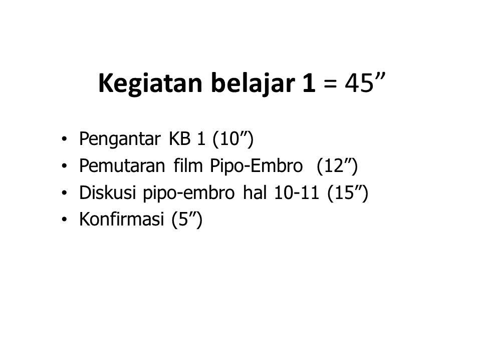 """Kegiatan belajar 1 = 45"""" Pengantar KB 1 (10"""") Pemutaran film Pipo-Embro (12"""") Diskusi pipo-embro hal 10-11 (15"""") Konfirmasi (5"""")"""