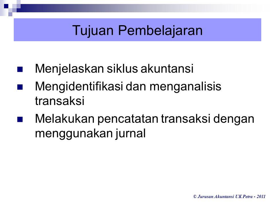 © Jurusan Akuntansi UK Petra - 2011 Tujuan Pembelajaran Menjelaskan siklus akuntansi Mengidentifikasi dan menganalisis transaksi Melakukan pencatatan