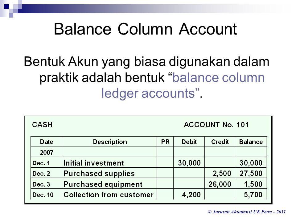 "© Jurusan Akuntansi UK Petra - 2011 Bentuk Akun yang biasa digunakan dalam praktik adalah bentuk ""balance column ledger accounts"". Balance Column Acco"