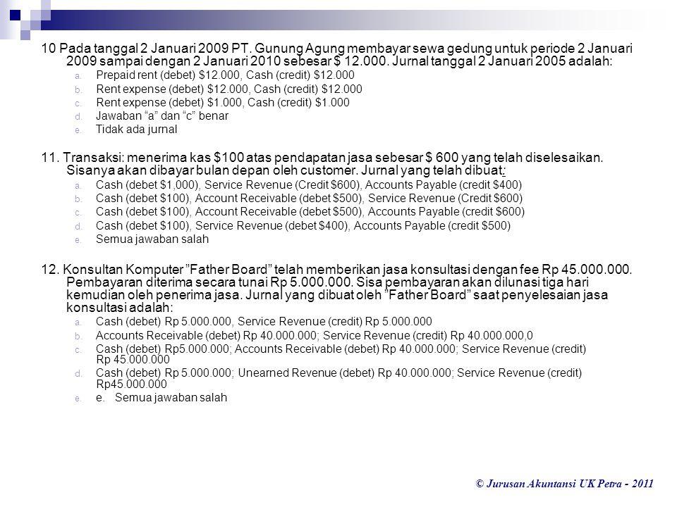 © Jurusan Akuntansi UK Petra - 2011 10 Pada tanggal 2 Januari 2009 PT. Gunung Agung membayar sewa gedung untuk periode 2 Januari 2009 sampai dengan 2