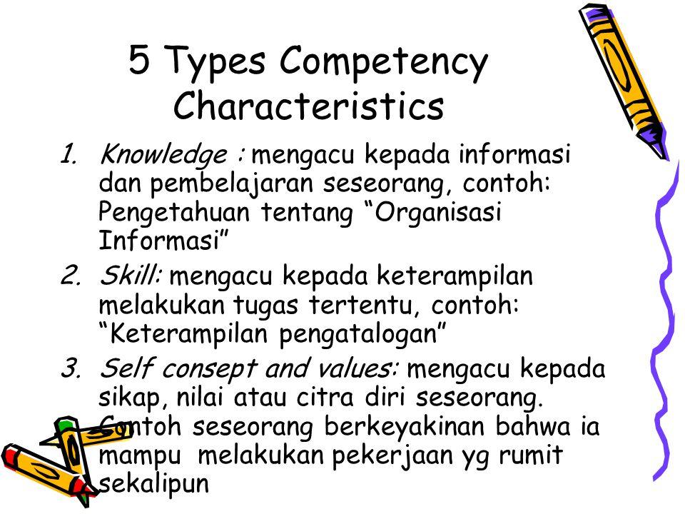 """5 Types Competency Characteristics 1.Knowledge : mengacu kepada informasi dan pembelajaran seseorang, contoh: Pengetahuan tentang """"Organisasi Informas"""