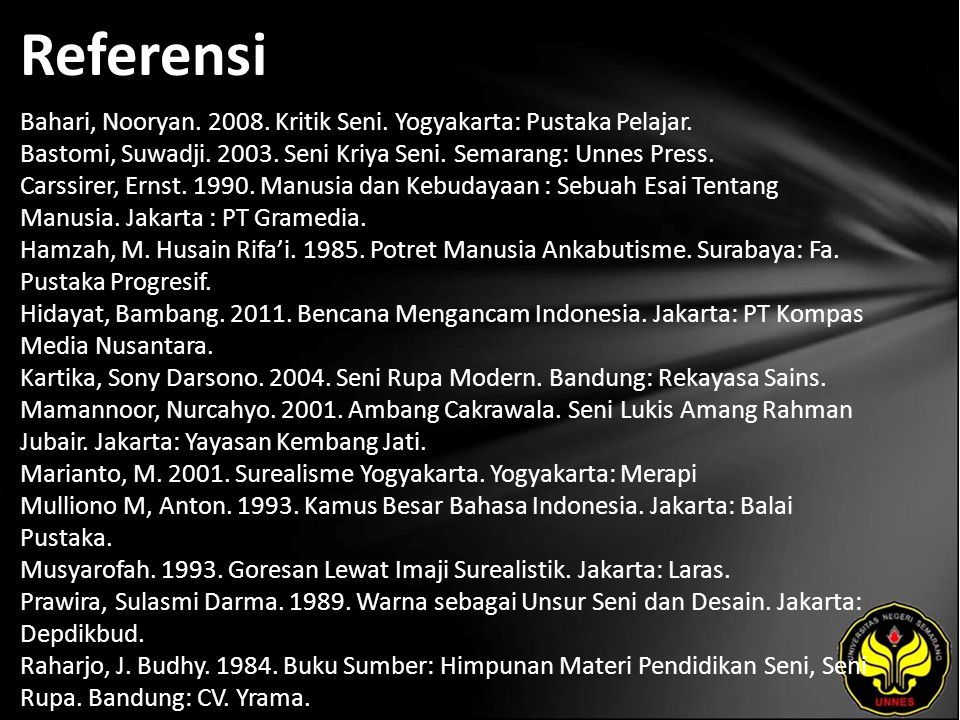 Referensi Bahari, Nooryan. 2008. Kritik Seni. Yogyakarta: Pustaka Pelajar.