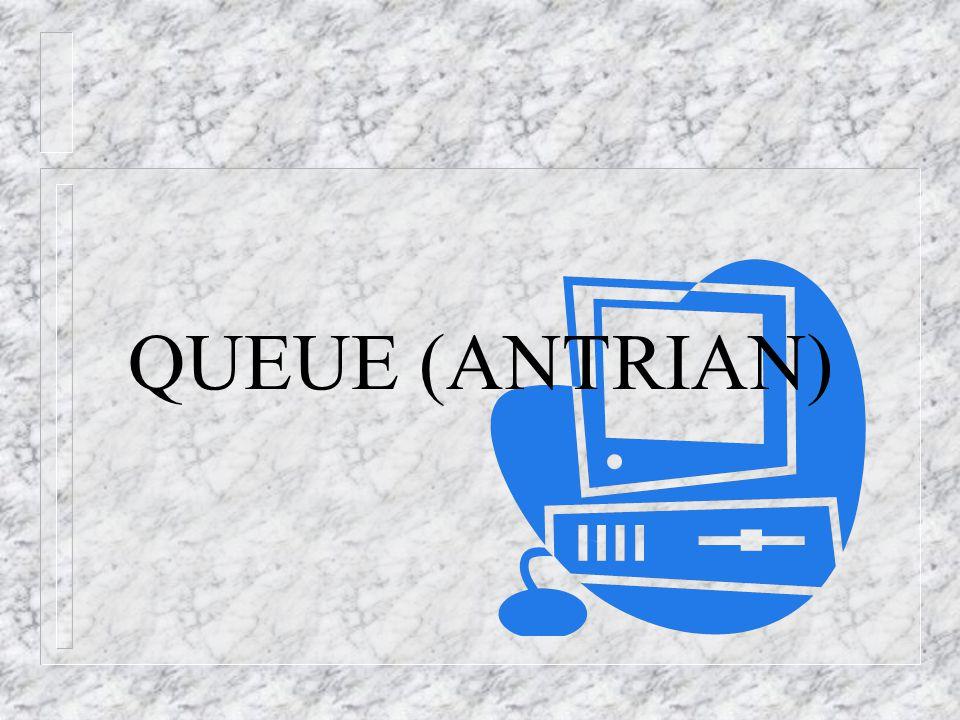 QUEUE n DEFINISI n adalah suatu linier list dimana operasi delete terjadi pada sisi depan (front) dan operasi insert terjadi pada sisi belakang (rear) n Antrean Q=[Q1, Q2, ….., QN] n Front (Q)=Q1 -> bagian depan antrian n Rear (Q)=QN -> bagian belakang antrean n Noel (Q)=N -> jumlah elemen dalam antrian