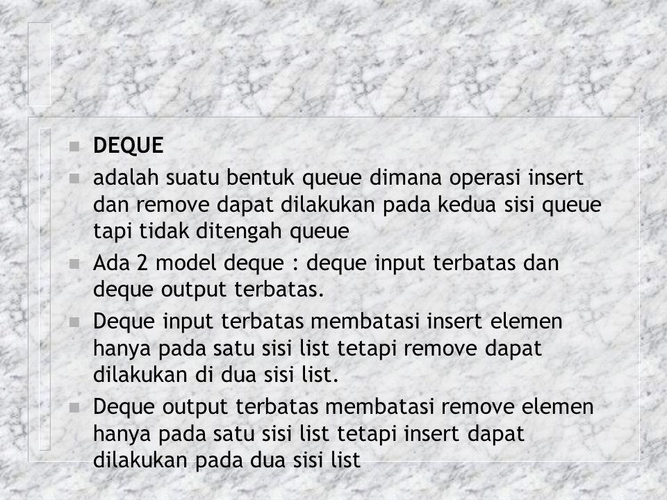 n DEQUE n adalah suatu bentuk queue dimana operasi insert dan remove dapat dilakukan pada kedua sisi queue tapi tidak ditengah queue n Ada 2 model deq