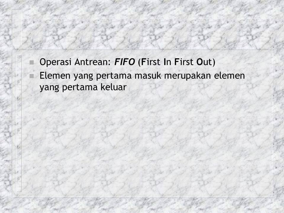n Operasi Antrean: FIFO (First In First Out) n Elemen yang pertama masuk merupakan elemen yang pertama keluar
