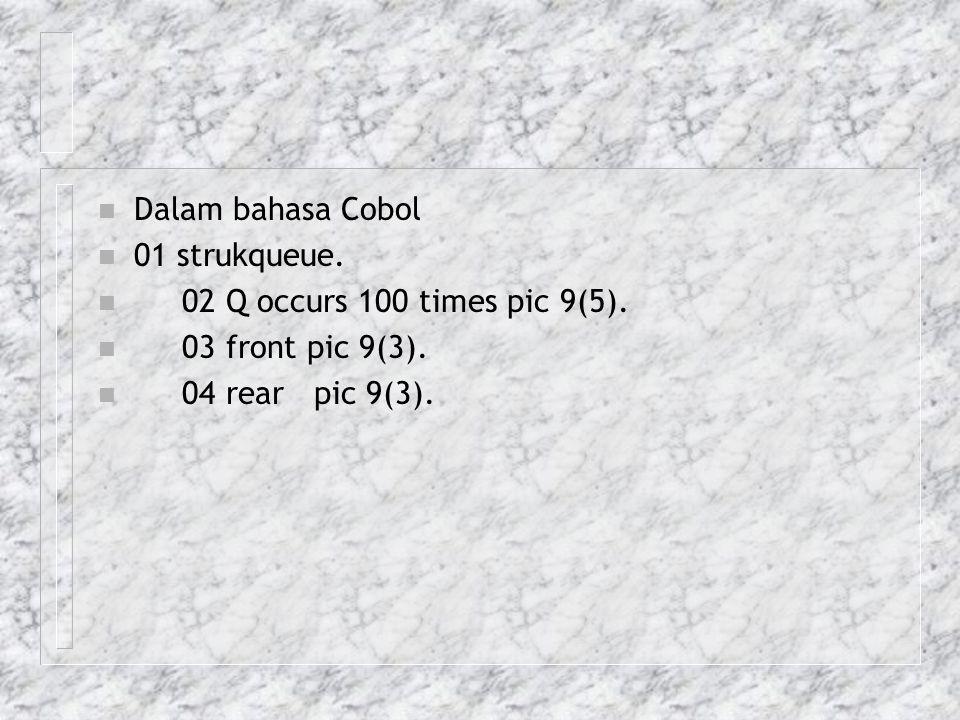 n Dalam bahasa Cobol n 01 strukqueue. n 02 Q occurs 100 times pic 9(5). n 03 front pic 9(3). n 04 rear pic 9(3).