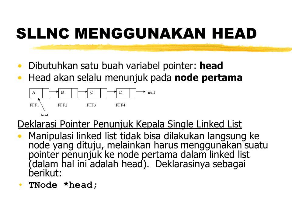 SLLNC menggunakan Head Fungsi Inisialisasi Single LinkedList void init(){ head = NULL; } Function untuk mengetahui kosong tidaknya Single LinkedList Jika pointer head tidak menunjuk pada suatu node maka kosong int isEmpty(){ if(head == NULL) return 1; else return 0; }