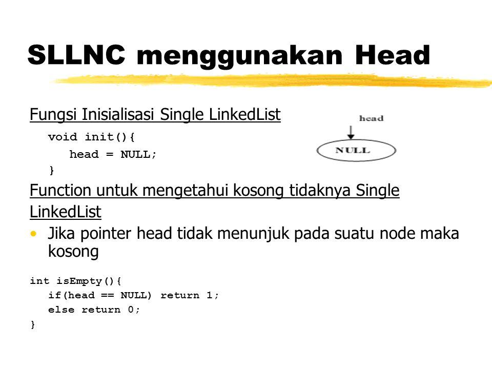 SLLNC menggunakan Head Fungsi Inisialisasi Single LinkedList void init(){ head = NULL; } Function untuk mengetahui kosong tidaknya Single LinkedList J