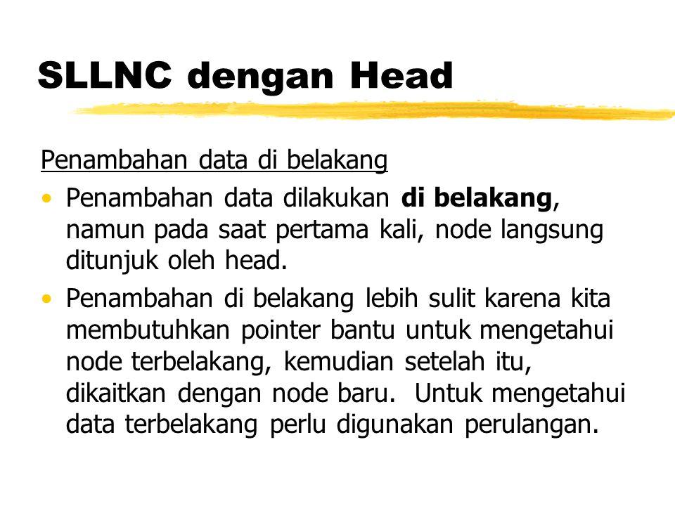 SLLNC dengan HEAD void insertBelakang (int databaru){ TNode *baru,*bantu; baru = new TNode; baru->data = databaru; baru->next = NULL; if(isEmpty()==1){ head=baru; head->next = NULL; } else { bantu=head; while(bantu->next!=NULL){ bantu=bantu->next; } bantu->next = baru; } printf( Data masuk\n ); }