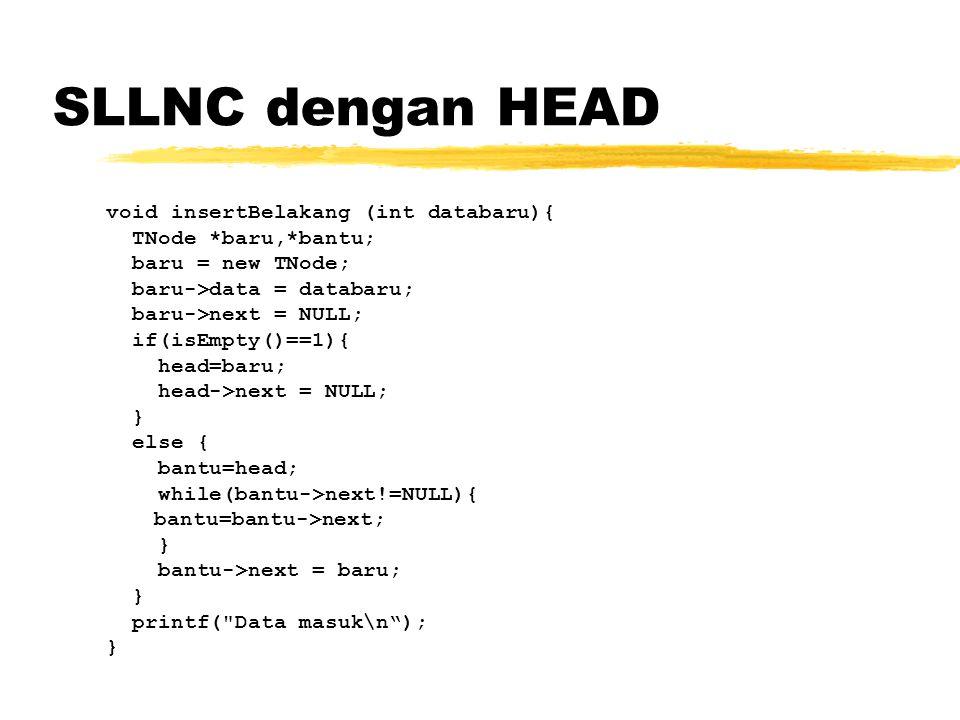 SLLNC dengan HEAD void insertBelakang (int databaru){ TNode *baru,*bantu; baru = new TNode; baru->data = databaru; baru->next = NULL; if(isEmpty()==1)