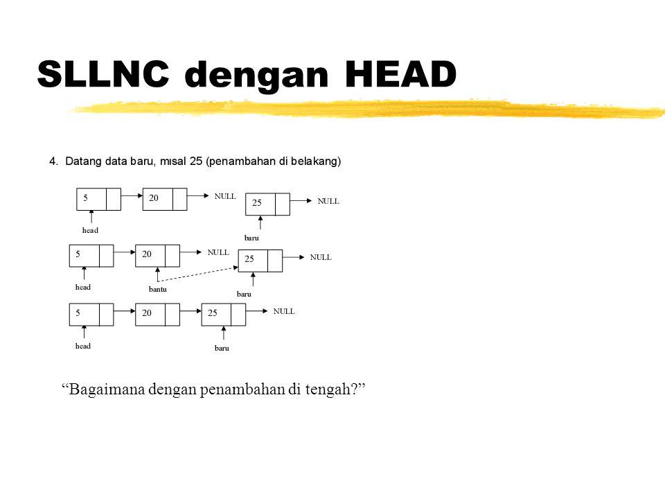 SLLNC dengan HEAD void tampil(){ TNode *bantu; bantu = head; if(isEmpty()==0){ while(bantu!=NULL){ cout data<< ; bantu=bantu->next; } printf( \n ); } else printf( Masih kosong\n ); }