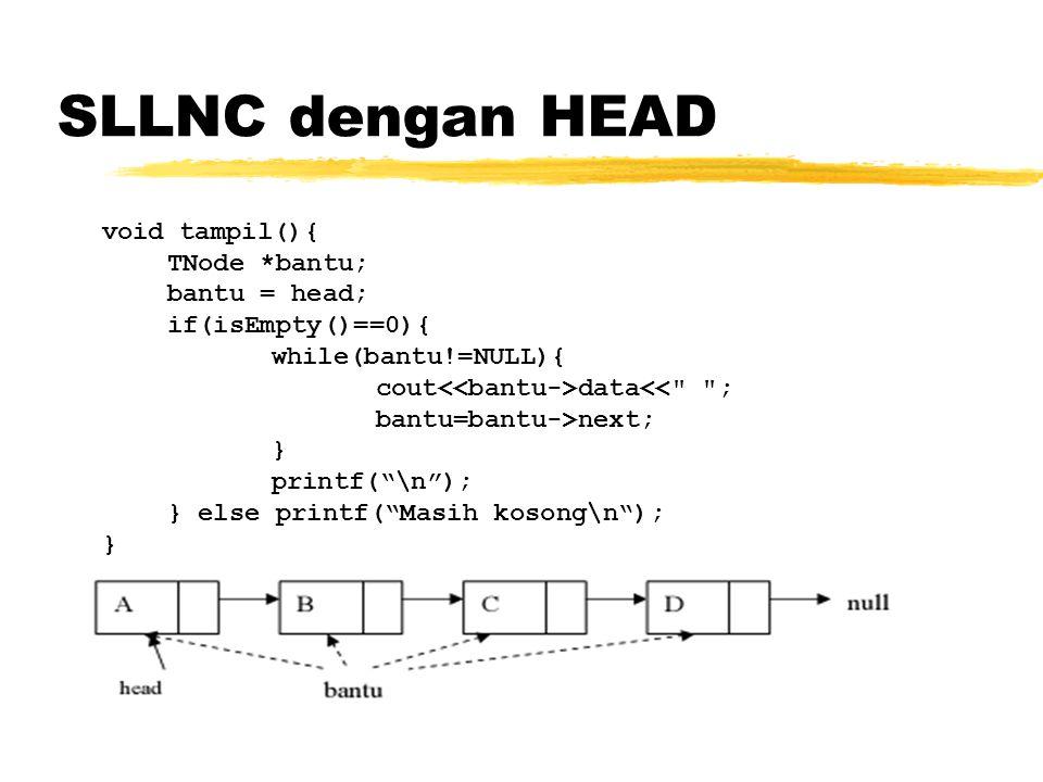 SLLNC dengan HEAD Function di atas digunakan untuk menampilkan semua isi list, di mana linked list ditelusuri satu-persatu dari awal node sampai akhir node.