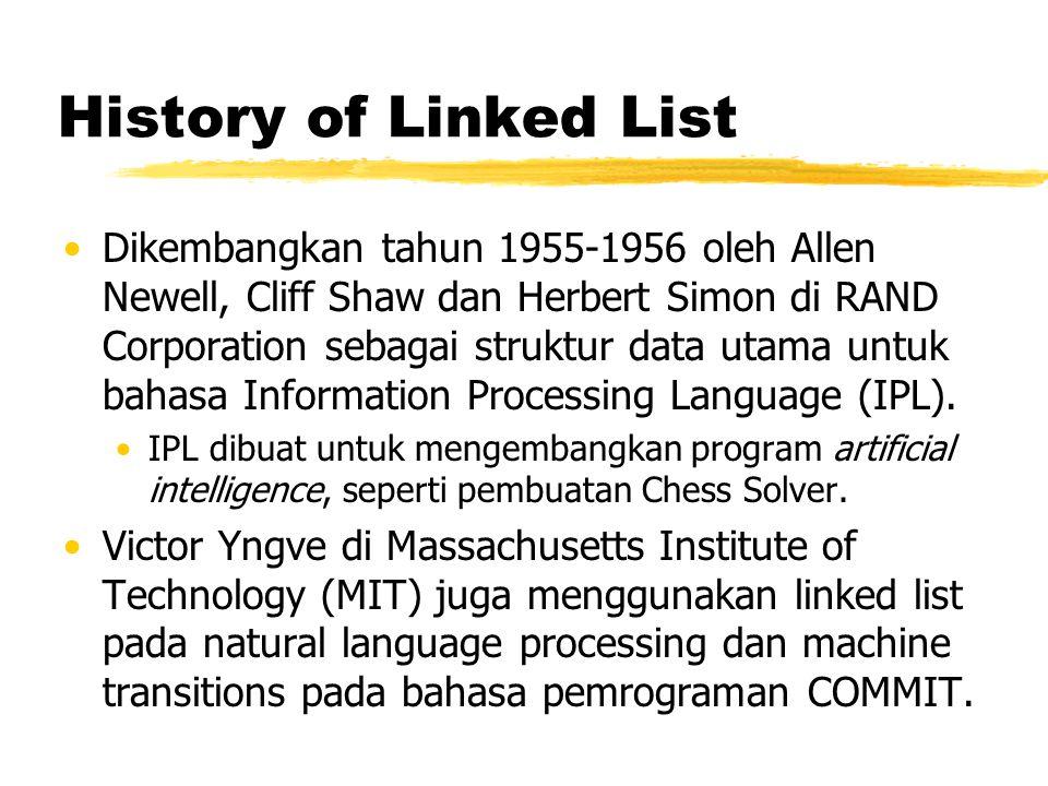 History of Linked List Dikembangkan tahun 1955-1956 oleh Allen Newell, Cliff Shaw dan Herbert Simon di RAND Corporation sebagai struktur data utama un