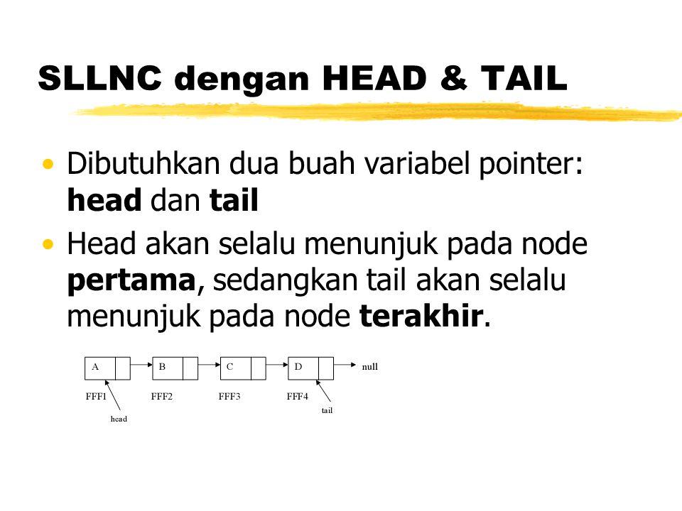 SLLNC dengan HEAD & TAIL Dibutuhkan dua buah variabel pointer: head dan tail Head akan selalu menunjuk pada node pertama, sedangkan tail akan selalu m