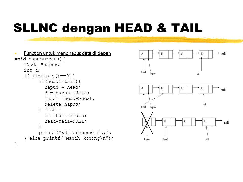 SLLNC dengan HEAD & TAIL Function di atas akan menghapus data terdepan (pertama) yang ditunjuk oleh head pada linked list Penghapusan node tidak boleh dilakukan jika keadaan node sedang ditunjuk oleh pointer, maka harus dilakukan penunjukkan terlebih dahulu dengan pointer hapus pada head, kemudian dilakukan pergeseran head ke node berikutnya sehingga data setelah head menjadi head baru, kemudian menghapus pointer hapus dengan menggunakan perintah delete.