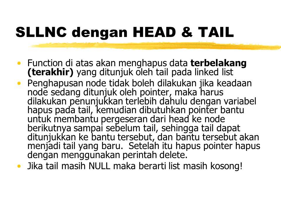 SLLNC dengan HEAD & TAIL Function untuk menghapus semua elemen LinkedList void clear(){ TNode *bantu,*hapus; bantu = head; while(bantu!=NULL){ hapus = bantu; bantu = bantu->next; delete hapus; } head = NULL; tail = NULL; }