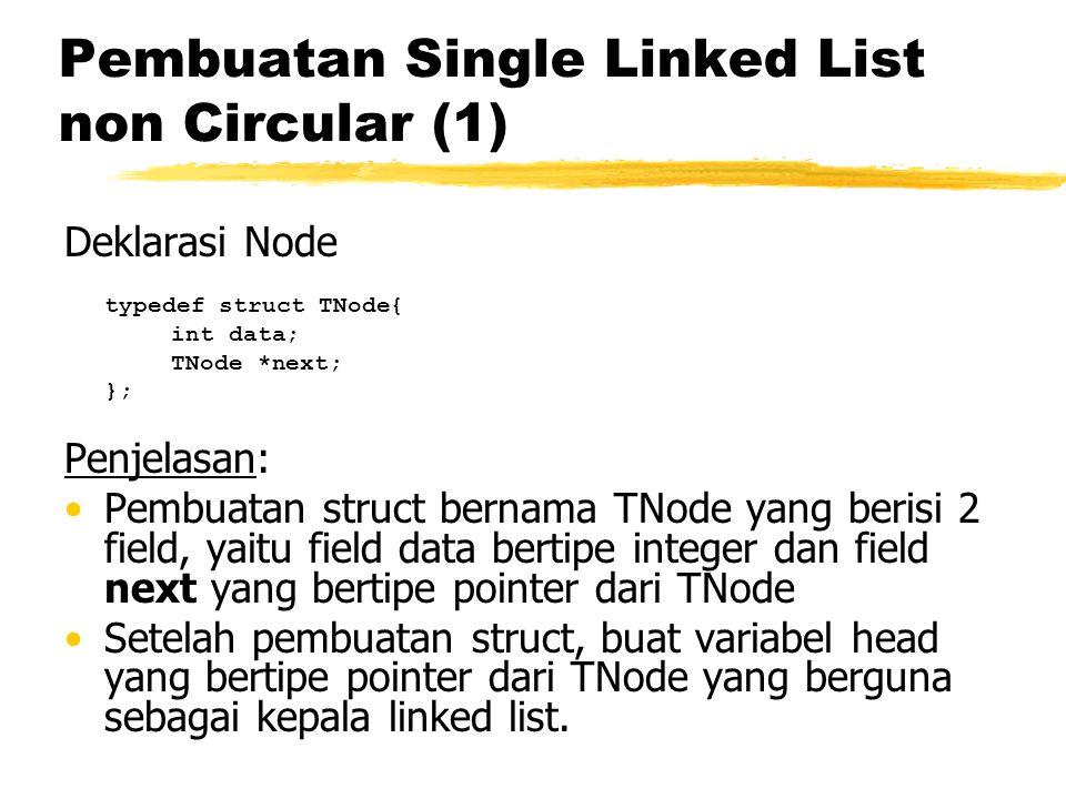 Pembuatan Single Linked List non Circular (2) Digunakan keyword new yang berarti mempersiapkan sebuah node baru berserta alokasi memorinya, kemudian node tersebut diisi data dan pointer nextnya ditunjuk ke NULL.