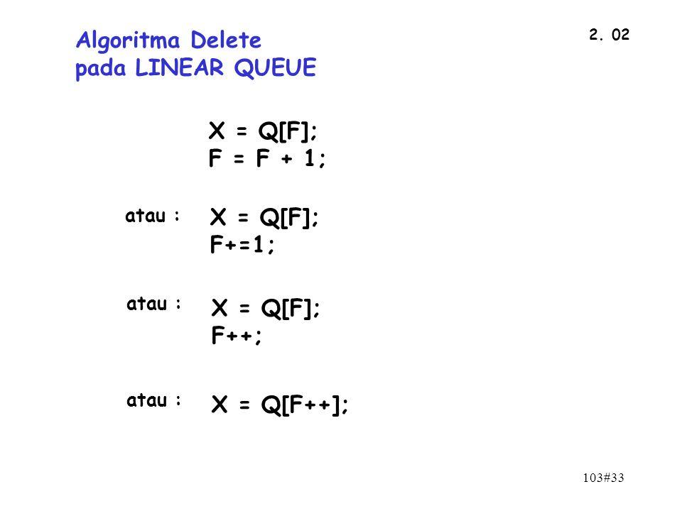 103#33 2. 02 Algoritma Delete pada LINEAR QUEUE X = Q[F]; F = F + 1; X = Q[F]; F+=1; X = Q[F]; F++; X = Q[F++]; atau :