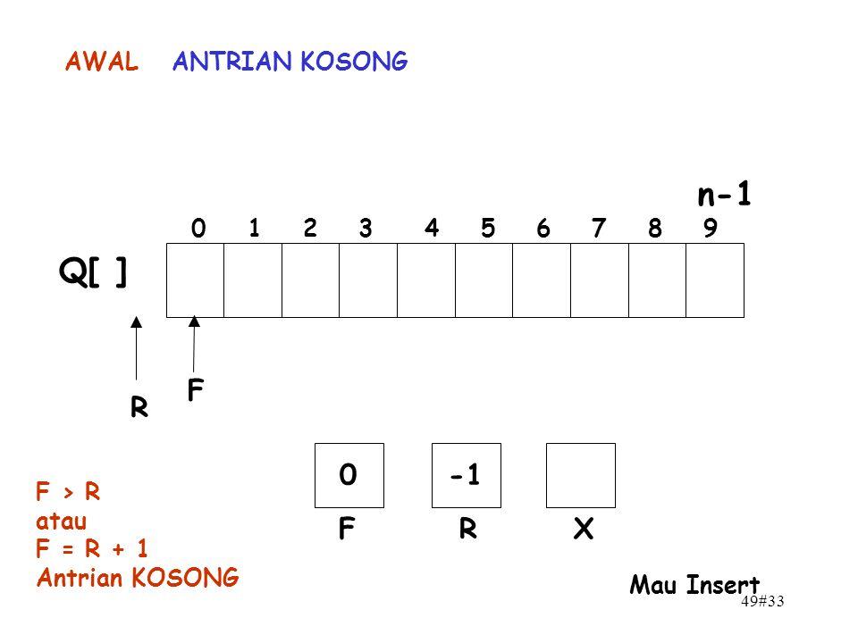 49#33 n-1 0 1 2 3 4 5 6 7 8 9 F R Q[ ] 0 FR AWAL X Mau Insert F > R atau F = R + 1 Antrian KOSONG ANTRIAN KOSONG
