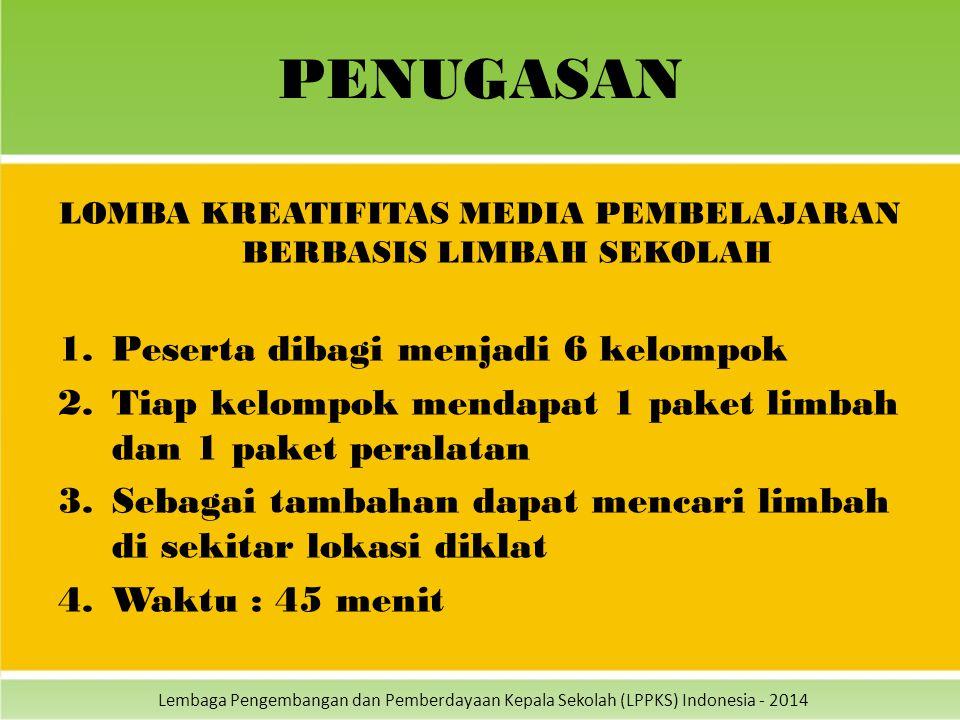 Lembaga Pengembangan dan Pemberdayaan Kepala Sekolah (LPPKS) Indonesia - 2014 PENUGASAN LOMBA KREATIFITAS MEDIA PEMBELAJARAN BERBASIS LIMBAH SEKOLAH 1