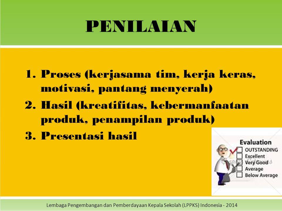 Lembaga Pengembangan dan Pemberdayaan Kepala Sekolah (LPPKS) Indonesia - 2014 PENILAIAN 1.Proses (kerjasama tim, kerja keras, motivasi, pantang menyer